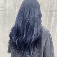 韓国ヘア ネイビー モード ハイトーンカラー ヘアスタイルや髪型の写真・画像