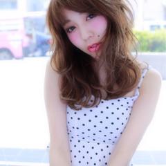 ブラウン パーマ グラデーションカラー セミロング ヘアスタイルや髪型の写真・画像