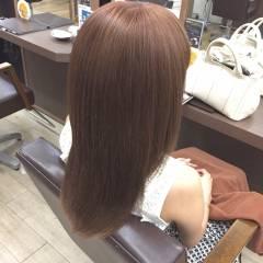 セミロング ピンク フェミニン ベージュ ヘアスタイルや髪型の写真・画像