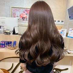 ショコラブラウン セミロング 韓国ヘア ナチュラル ヘアスタイルや髪型の写真・画像