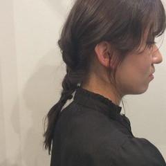 編み込み ヘアアレンジ セミロング 透明感カラー ヘアスタイルや髪型の写真・画像