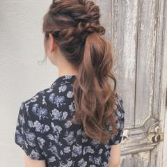 ナチュラル 簡単ヘアアレンジ デート ポニーテール ヘアスタイルや髪型の写真・画像
