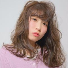 セミロング ゆるふわ ピンク パーマ ヘアスタイルや髪型の写真・画像
