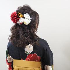 ヘアアレンジ 学校 謝恩会 セミロング ヘアスタイルや髪型の写真・画像