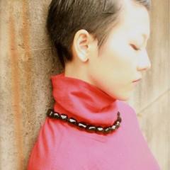 暗髪 フェミニン ショート モード ヘアスタイルや髪型の写真・画像