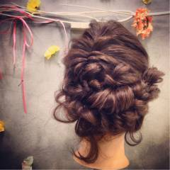ヘアアレンジ パーティ 編み込み コンサバ ヘアスタイルや髪型の写真・画像