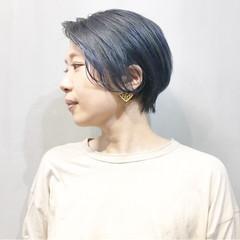 ネイビーブルー ストリート ショート ブルーアッシュ ヘアスタイルや髪型の写真・画像