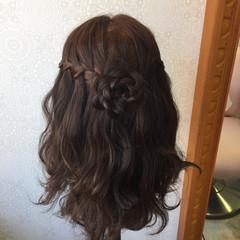 ハーフアップ パーティ セミロング ウォーターフォール ヘアスタイルや髪型の写真・画像