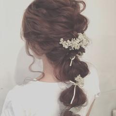 結婚式 セミロング ヘアアレンジ アッシュ ヘアスタイルや髪型の写真・画像