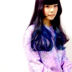 カラフルカラー ブルー ストリート ロング ヘアスタイルや髪型の写真・画像