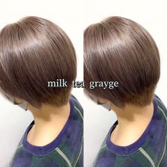 ミルクティー ヘアカラー ミルクティーグレージュ ストリート ヘアスタイルや髪型の写真・画像