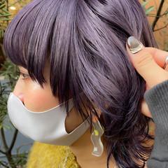 ミディアム ラベンダーカラー ブリーチ ナチュラル ヘアスタイルや髪型の写真・画像