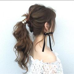 結婚式 ポニーテール デート ロング ヘアスタイルや髪型の写真・画像