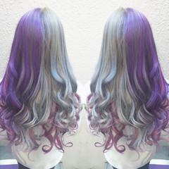 グラデーションカラー パープル アッシュ ストリート ヘアスタイルや髪型の写真・画像