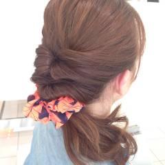 ポニーテール ショート くるりんぱ 簡単ヘアアレンジ ヘアスタイルや髪型の写真・画像