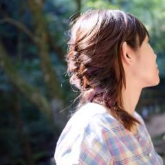 編み込み ヘアアレンジ ナチュラル 簡単ヘアアレンジ ヘアスタイルや髪型の写真・画像