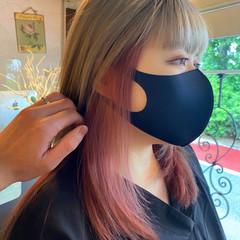 ピンク ダブルカラー セミロング インナーカラー ヘアスタイルや髪型の写真・画像