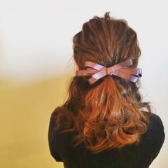 ゆるふわ ハーフアップ 結婚式 セミロング ヘアスタイルや髪型の写真・画像