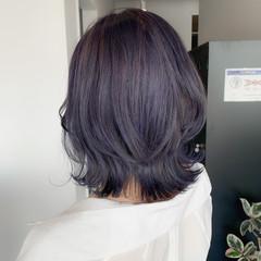 ガーリー ラベンダーグレー ブルーラベンダー ラベンダーカラー ヘアスタイルや髪型の写真・画像
