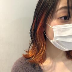 オレンジベージュ ボブ アプリコットオレンジ オレンジカラー ヘアスタイルや髪型の写真・画像