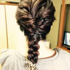 ロング ロープ編み 大人かわいい 愛され ヘアスタイルや髪型の写真・画像