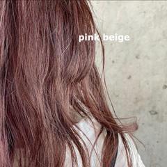 フェミニン ピンクベージュ ブリーチカラー ダブルカラー ヘアスタイルや髪型の写真・画像