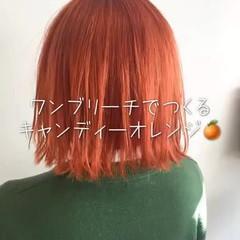 ストリート ボブ オレンジ ブリーチ ヘアスタイルや髪型の写真・画像