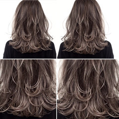 上品 グラデーションカラー ハイライト セミロング ヘアスタイルや髪型の写真・画像