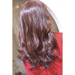 韓国風ヘアー ロング ベリーピンク ガーリー ヘアスタイルや髪型の写真・画像