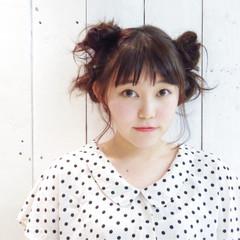 ヘアアレンジ ミディアム 春 お団子 ヘアスタイルや髪型の写真・画像