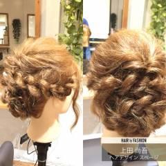 セミロング ヘアアレンジ くるりんぱ まとめ髪 ヘアスタイルや髪型の写真・画像