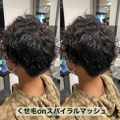 メンズパーマ メンズカット スパイラルパーマ メンズマッシュ ヘアスタイルや髪型の写真・画像