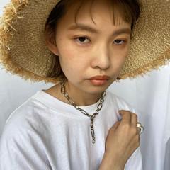 帽子アレンジ ミニボブ 麦わら帽子 ボブアレンジ ヘアスタイルや髪型の写真・画像
