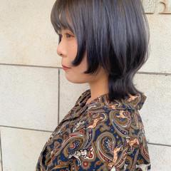 ショート ウルフカット ガーリー ネイビーアッシュ ヘアスタイルや髪型の写真・画像