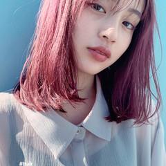 秋 ヘアカラー ピンク デート ヘアスタイルや髪型の写真・画像