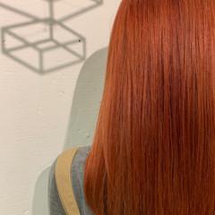 ブリーチカラー オレンジ モード ダブルカラー ヘアスタイルや髪型の写真・画像