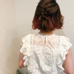 ヘアセット フェミニン ボブ 編み込みヘア ヘアスタイルや髪型の写真・画像