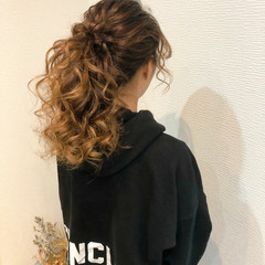 ポニーテール ポニーテールアレンジ ヘアセット セミロング ヘアスタイルや髪型の写真・画像