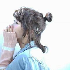 ヘアアレンジ お団子 ボブ ハーフアップ ヘアスタイルや髪型の写真・画像