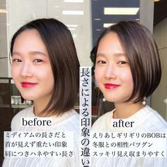 ナチュラル ミニボブ ショートヘア ハンサムショート ヘアスタイルや髪型の写真・画像