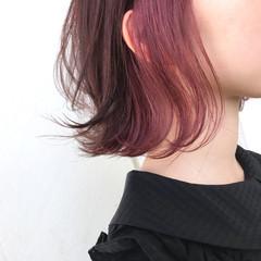 インナーカラー 色気 ボブ ゆるふわ ヘアスタイルや髪型の写真・画像