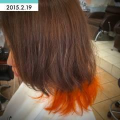 オレンジ グラデーションカラー ダブルカラー イエロー ヘアスタイルや髪型の写真・画像
