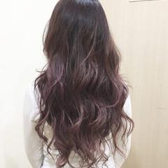 パープル ピンク バイオレットアッシュ グラデーションカラー ヘアスタイルや髪型の写真・画像