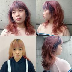 ストリート ロングヘアスタイル セミロング ピンクパープル ヘアスタイルや髪型の写真・画像