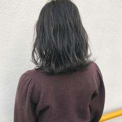 外ハネ ロブ ボブ ハイライト ヘアスタイルや髪型の写真・画像
