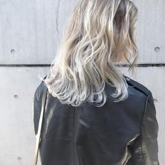 ヘアカラー アッシュグレージュ ダブルカラー セミロング ヘアスタイルや髪型の写真・画像