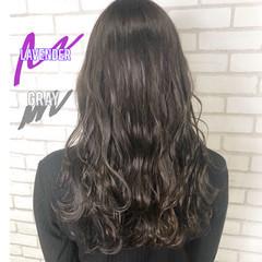 フェミニン ラベンダー グレージュ セミロング ヘアスタイルや髪型の写真・画像