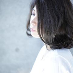 ミディアム 大人女子 アッシュ ボブ ヘアスタイルや髪型の写真・画像