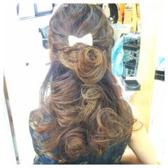 ハーフアップ ブラウン 簡単ヘアアレンジ ヘアアレンジ ヘアスタイルや髪型の写真・画像