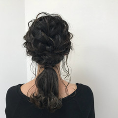 編み込み 結婚式 ナチュラル ロング ヘアスタイルや髪型の写真・画像